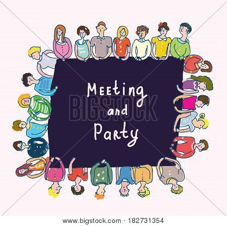 Group of people at the table - meeting or party design vector graphic illustration