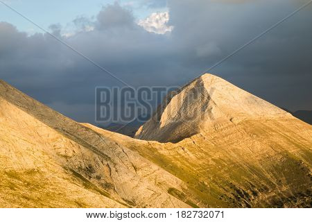 View of the summit of Vihren the highest peak in the Pirin Mountains Bulgaria situated within the National Park a popular sporting destination in both summer and winter