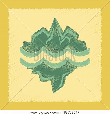flat shading style icon nature melting glacier