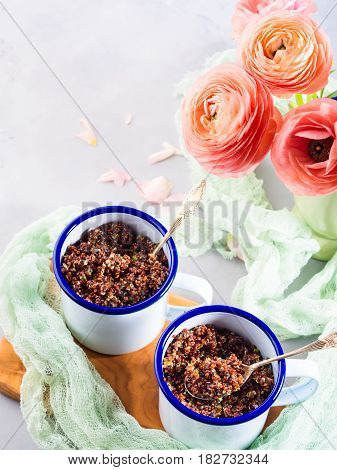 Red Quinoa With Vegetables In Mugs