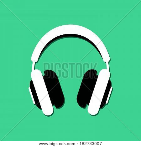 Vector illustration of headphones in a flat style.
