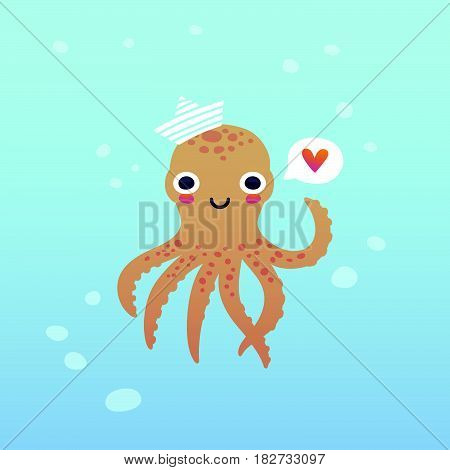 Vector illustration adorable octopus character with a heart in a speech bubble under the water