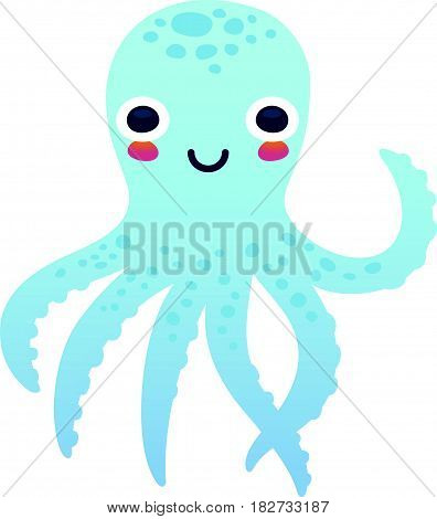 Vector illustration adorable octopus character isolated on a white background