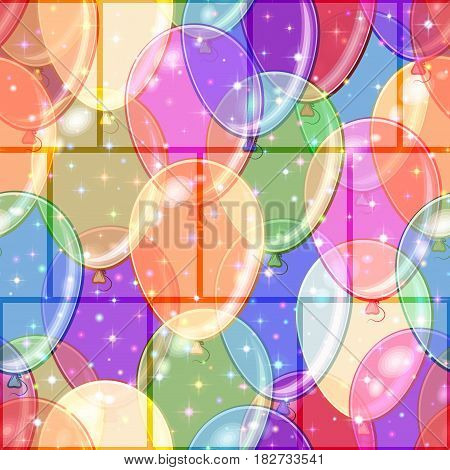 Seamless Background with Beautiful Flying Colorful Balloons and Stars, Holiday Tile Pattern for your Design. Eps10, Contains Transparencies. Vector