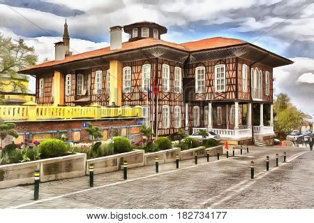 Colorful painting of vintage house on city square, Bursa, Bursa Province, Turkey