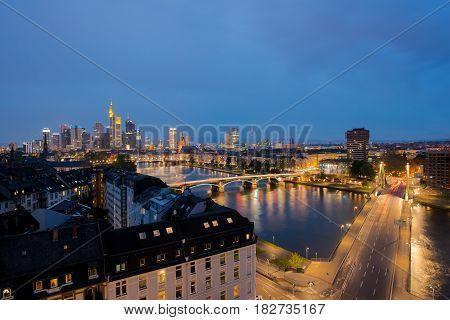 City of Frankfurt am Main skyline at night Frankfurt Germany.