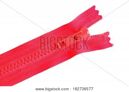 Close up red zipper isolated on white background
