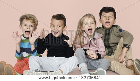 Little Children Gathering Together Smiling Happy