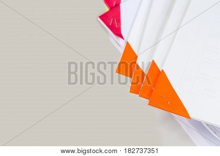 Top view shot of documents stack, report stack