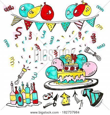 Иллюстрация к празднованию дня рождения. Маркер, линер