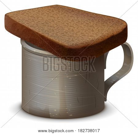 Metal war mug with water and piece of gray bread. Symbol of memory of dead. Isolated on white vector illustration