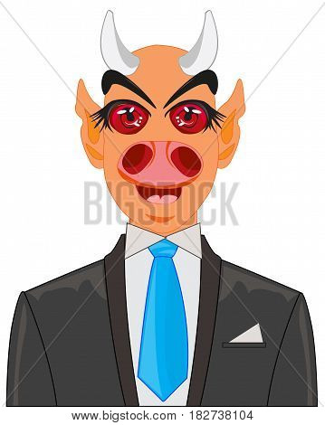 Devil in suit on white background is insulated