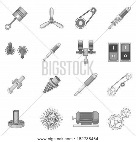 Mechanism parts icons set in monochrome style isolated vector illustration