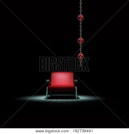 chair in the dark with question mark symbols 3D rendering