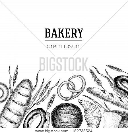 vector bakery banner template. Can be use for bakery, pastry, cafe, shop and products. Vintage hand drawn illustration