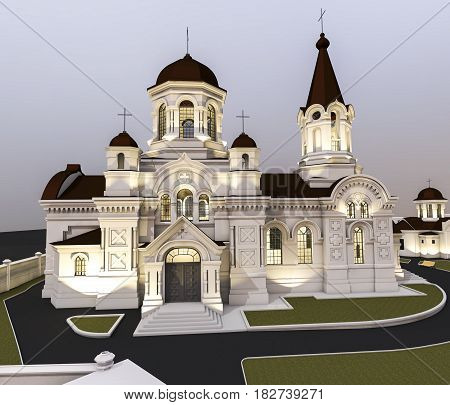 3d ilustration of beautiful orthodox church, lateral view