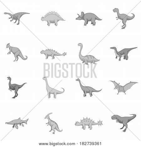 Different dinosaurs icons set in monochrome style isolated vector illustration