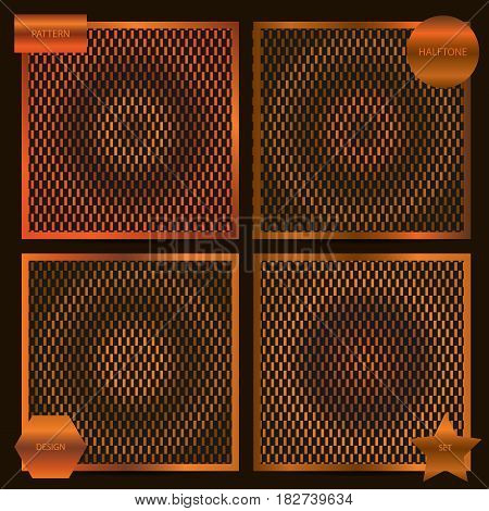Set Of Square Cards Size With Halftone Patterns In Copper Colors. Vector Business Templates For Flye