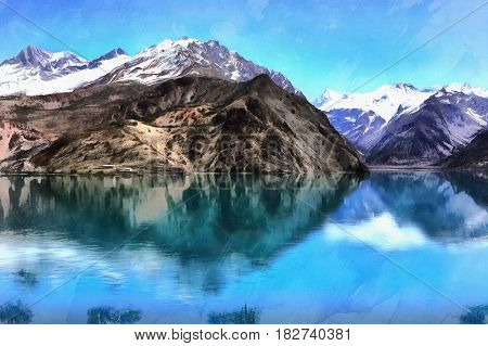 Beautiful landscape colorful painting of Lake Iskanderkul and Fan mountains, Tajikistan