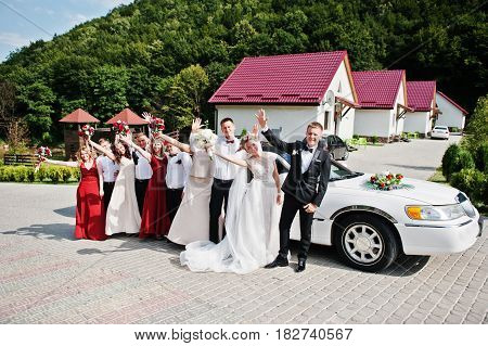 Stylish Wedding Couple With Bridesmaids And Best Mans Against Wedding Limousine. Ten People.