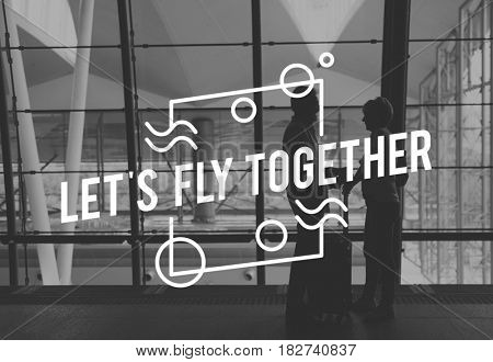 Senior Couple Travel Together Words Graphic