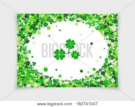 Four leafs clovers and shamrocks scattered on white paper background in oval frame for Saint Patrick's Day. Vector illustration. Isolated