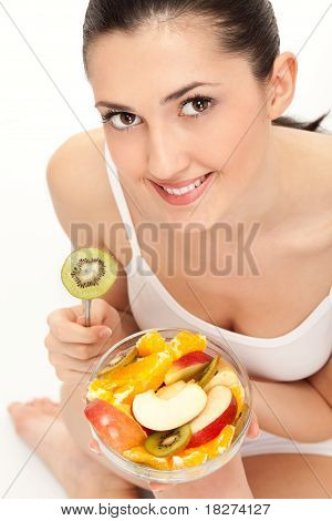Woman Eating Trusty Salad