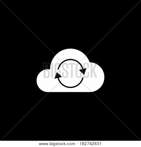 Cloud sync solid icon, seo and development, network sign, a filled pattern on a black background, eps 10.