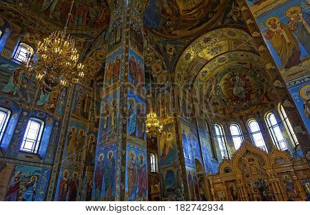 Interior of the Cathedral of the Resurrection of Christ in Saint Petersburg, Russia. Church of the Savior on Blood.