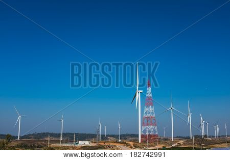 Eco Power, Wind Turbines Generating Electricity, Renewable Energy Source.
