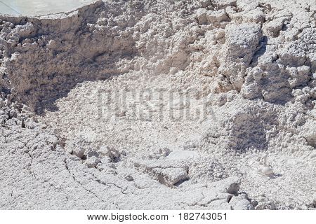 a landscape of active mud pots in Yellowstone National Park Wyoming