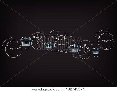 shopping baskets next to clocks and alarms, concept of limited time promotions (vector illustration on mesh background)