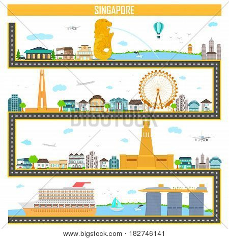 easy to edit vector illustration of cityscape with famous monument and building of Singapore