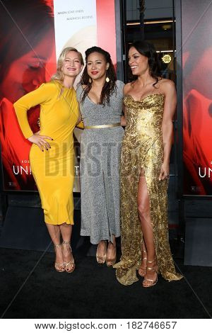 LOS ANGELES - APR 18:  Zoe Bell, Tracie Thoms, Rosario Dawson at the