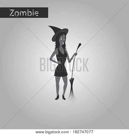 black and white style icon of witch with broom