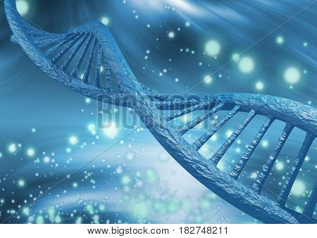 DNA chain in magnified scale, 3D rendering