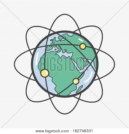 geostationary orbits around earth planet, vector illustration