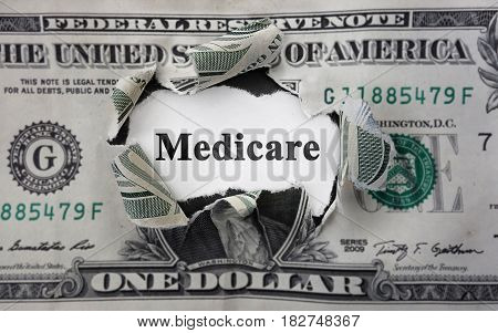Medicare news headline inside of torn dollar bill