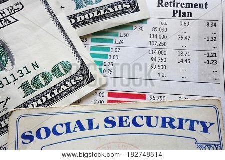 social security card money and retirement planning numbers