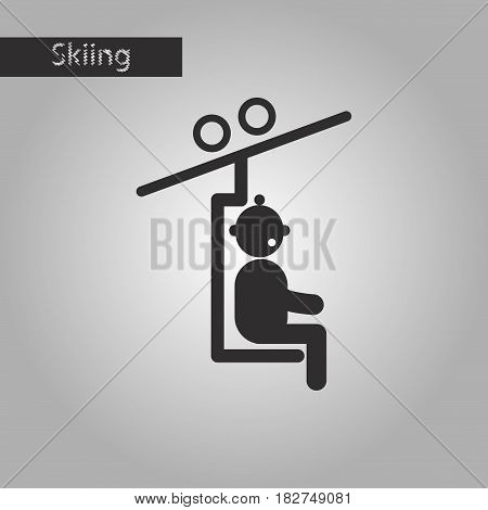 black and white style icon Man on Ski lift