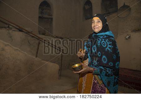 Al Hamra Oman November 3rd 2016: Omani lady with sandlewood paste at her forehead