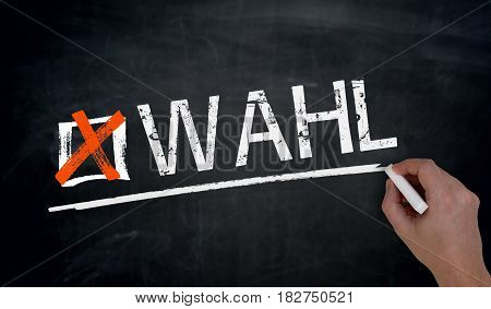 Wahl (in German Election) Is Written By Hand On Blackboard