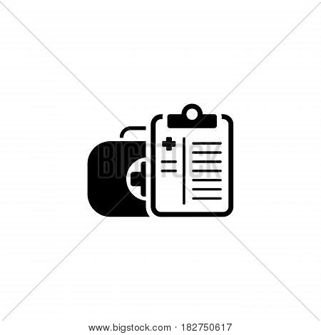 Medical Services Icon. Flat Design. Isolated Illustration. Medical suitcase with doctoral tablet.