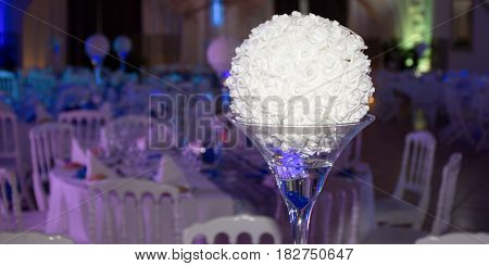 Decorated Festive Table For Weeding With Blue White Decoration