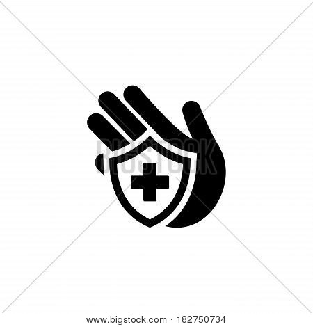 Insurance Icon. Flat Design. Isolated Illustration. Hand and shield with cross.