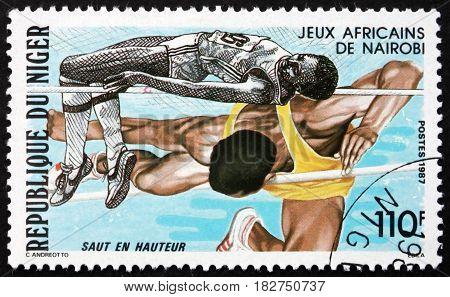 NIGER - CIRCA 1987: a stamp printed in Niger shows High Jump African Games Nairobi circa 1987