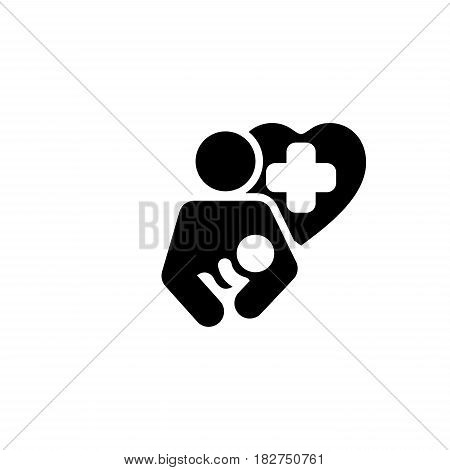 Life Care Icon. Flat Design. Isolated Illustration. Mother holding a newborn baby and a Heart with cross in behind.