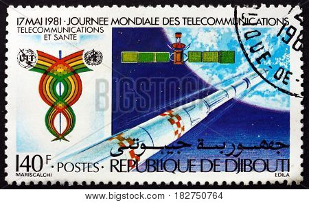 DJIBOUTI - CIRCA 1981: a stamp printed in Djibouti shows Rocket and Satellite 13th World Telecommunications Day circa 1981