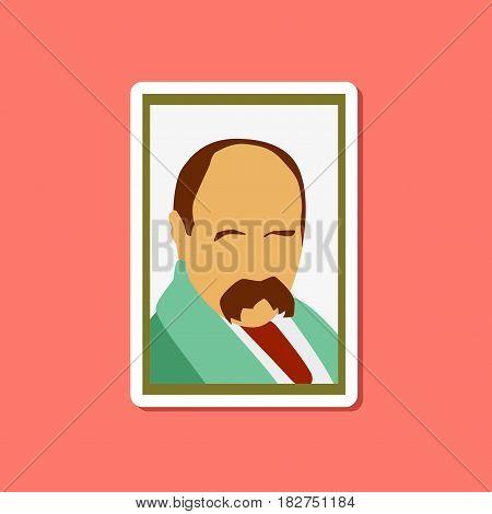 paper sticker on stylish background of Taras Shevchenko