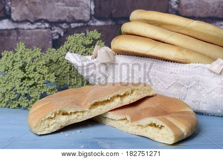 Typical Sardinian bread with a basket of tradition and folklore